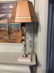 Vintage brass, marble, and glass lamp