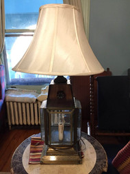 Vintage brass lamp with shade