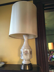 Vintage porcelain lamp with silk shade