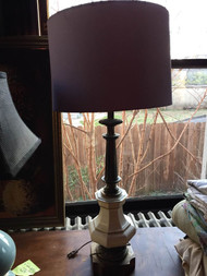 Porcelain and brass lamp