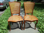 Pair Cherry French Provincial Caned Chairs