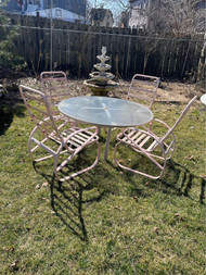 "Vintage contemporary 54"" patio table and 4 chairs"
