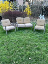 Bronze finish patio set with cushions
