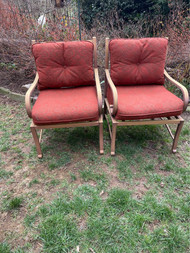Pair of Hampton bay patio chairs with cushions