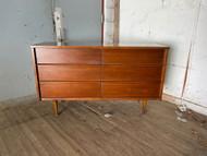 6 drawer midcentury modern walnut dresser