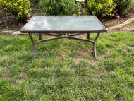 Bronze finished glass top patio coffee table