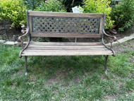 Vintage iron and hard wood patio park bench