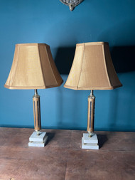 mid century modern wooden and marble lamps