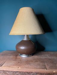 Vintage mid century modern brown ceramic lamp