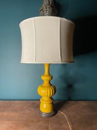 Mid century modern yellow ceramic glazed lamp