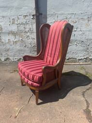 Striped caned wingback chair