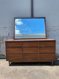 Mid century modern walnut 9 drawer dresser with mirror