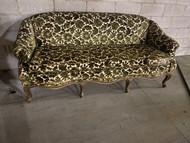 Vintage French embossed velvet sofa in green and cream
