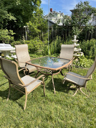 """48"""" square glass top patio table with 4 chairs"""