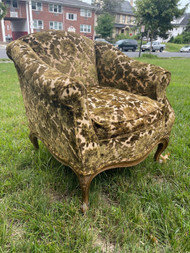 Vintage French embossed velvet chair in green and cream