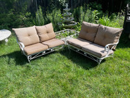 White iron patio sectional with cushions