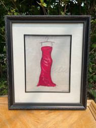 Red dress signed print