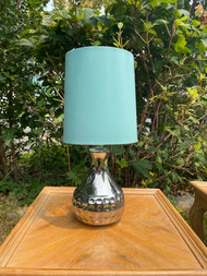 Glass chrome finished lamp with teal shade