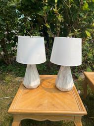 Pair of faux marble ceramic lamps