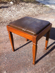 Leather Walnut Footstool