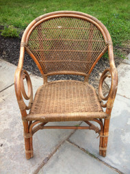 Bamboo and Wicker Arm Chair