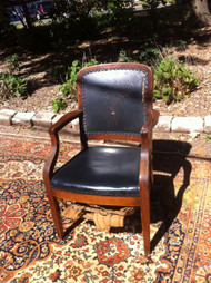 Antique Walnut and Leather Arm Chair