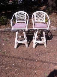 Pair of Rattan Bar Stools