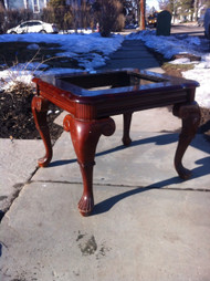 Glass Top Cherry Queen Anne End Table