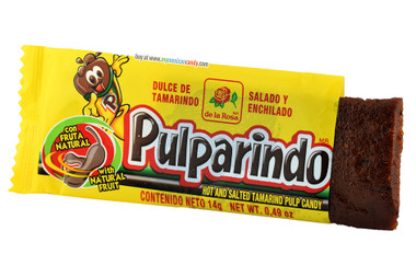 Pulparindo is a hot and salted tamarind pulp, it's probably the best-known and surely one of the most delicious Mexican candy. It doesn't look very nice, but its taste makes up for it. It is sweet, hot and sour and it's all at the same time. Pulparindo is covered with powdered sugar. It is definitely worth trying!
