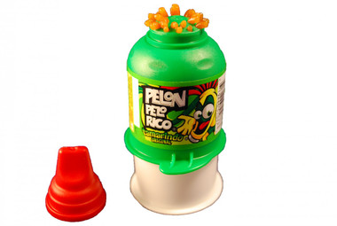 Pelon Pelo Rico is very delicious and yummy soft jell tamarind candy spaghetti strings. Kids will have fun pressing the bottle down and the small strips of candy come up from the bottom.