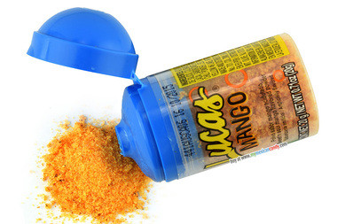 Sweet and Sour Mango flavored Powder by Lucas. Savory, sweet and sour are what you'll get from the classic Mexican fruit and spice blend, mango. The mango powder can be eaten by itself or sprinkled over fruits. Its baby size makes it compact, allowing you to take it anywhere you go. Also, it comes with a twist on cap, so you can eat some now and save the rest for later.