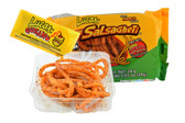 Mango flavored soft candy strips with hot tamarind sauce. It looks like spaghetti! But it taste better than spaghetti, its candy! They are a great treat for parties, trips, or a sweet afternoon snack for the kids! Each box comes with 12 individually wrapped packs of candy straws.