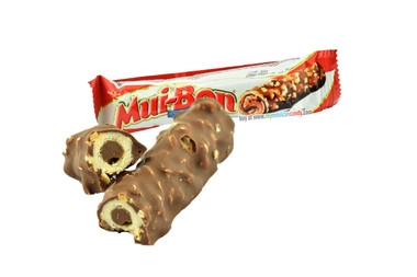 A delicious chocolate candy, covered with peanuts and filled with hazelnut cream, a totally mouth-watering experience!