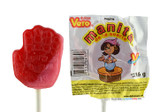 Vero Manita is a hard candy lollipop with strawberry and cherry flavored. It comes in the creative form of a little hand.