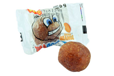 This candy comes in a ball shaped form and has delicious mixture of sweet and spiciness...thanks to the mago flavor and the hot chili covered on top!
