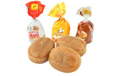 """Delicious hard caramel with three different but tasty flavors. """"Mim"""" that is a crunchy candy with peanut, """"Wim"""" full of hazelnut flavored filling and """"Muu"""" with a rich dairy confection filling."""