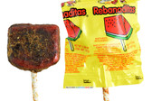 Vero Rebanaditas combines the sweet and exquisite tamarind with a hot, piquant chili powder coverture. This watermelon lollipop comes in a rounded, appetizing squared shape, with a rich chili powder cover on top.