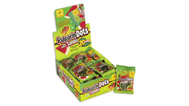 PulparinDots is a ball shaped candy with watermelon flavor and a delicious tamarind spicy pulp filling on the inside. This is kind of a hard outside candy but with a soft center.