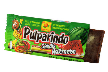 Pulparindo is a soft candy bar that is filled with a hot and salted tamarind pulp, with a delicious watermelon essence. This  bar is covered with a powder sugar that creates the perfect mixture between spicy, sour and sweetness.