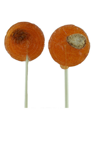 Paleta Saladito is a really rich hard candy lollipop with a fruity tamarind flavor and a small salted prune in the center.