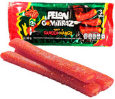 Pelon Gomitiraz are candy strips with a watermelon flavor and a delicious mango caramel filling on the center. This candy has the sweet combination of these two fruits and a spicy touch thanks to the chili powder sprinkle on top.