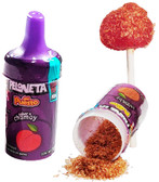 Delightful hard candy lollipop with chamoy flavor and a rich chili powder to cover the top of the lollipop and combine the two of them creating a delicious mixture of sweet, sour and spicy.