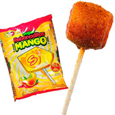 Super Rebanaditas Mango is a hard candy lollipop with a coat of spicy, salty and sour chili powder and a super sweet and delicious mango flavored center. The lollipop comes in a square shaped.