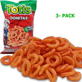 Totis Snacks Donitas is a snack full of chili and lime flavored wheats that come in a tire shape. This snack has a crunchy texture and has a perfect mix of spicy and acidic flavors.
