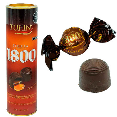 Turin Chocolate 1800 is a delicious semi bitter chocolate with a really tasty liquid caramel filling of a 1800 reserve tequila reposado. A delightful combination between the sweetness and bitterness of a chocolate and the delicious heat of tequila.