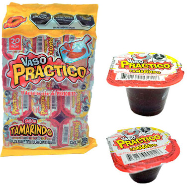 Vaso Practico Tamarindo is a candy with a gooey texture and a really tasty tamarind pulp mix with a pinch of hot chili. This candy bings a sweet and spicy flavor combination inside of a small plastic cup.