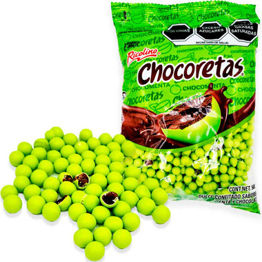 Delicious candied sweet with chocolate filling and mint flavor.