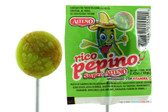 Acidulated hard candy lollipop with the fruity and delicious flavor of cucomber filled with chili powder on the inside! Presentation with 40 pieces of individual lollipops on the inside!