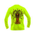 Sea Fear Men's 50+ UPF Long Sleeve Rash Guard Scuba Diving, Snorkeling, Lobster-Large, Neon Yellow