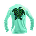 Sea Fear Men's 50+ UPF Long Sleeve Rash Guard Scuba Diving, Snorkeling, Electric Turtle, Sea Grass